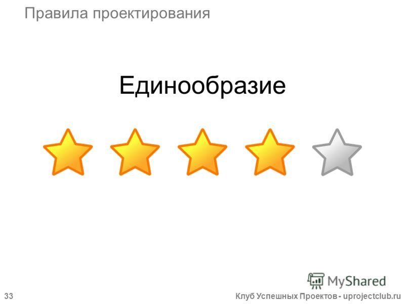 Клуб Успешных Проектов - uprojectclub.ru33 Единообразие Правила проектирования