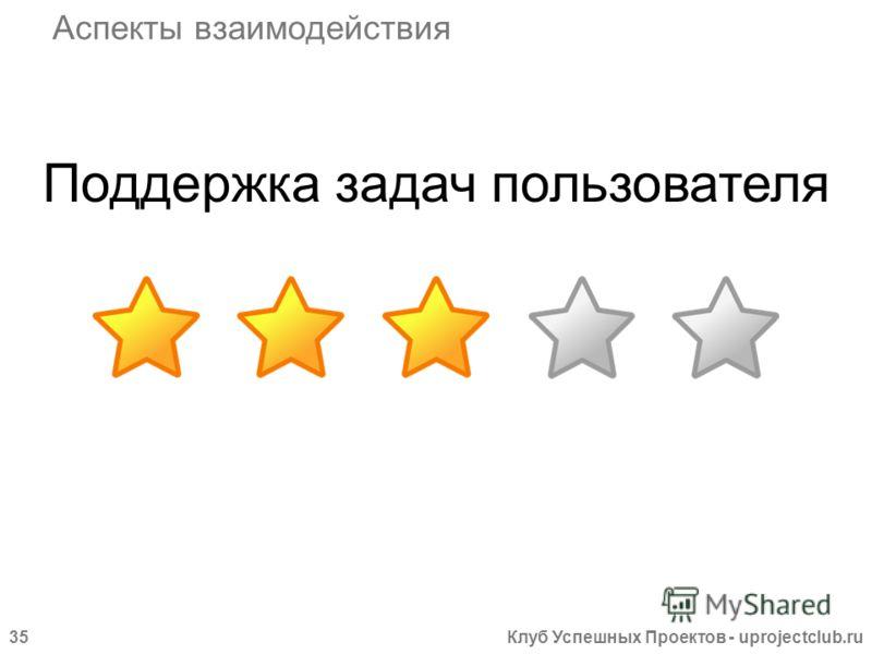 Клуб Успешных Проектов - uprojectclub.ru35 Поддержка задач пользователя Аспекты взаимодействия