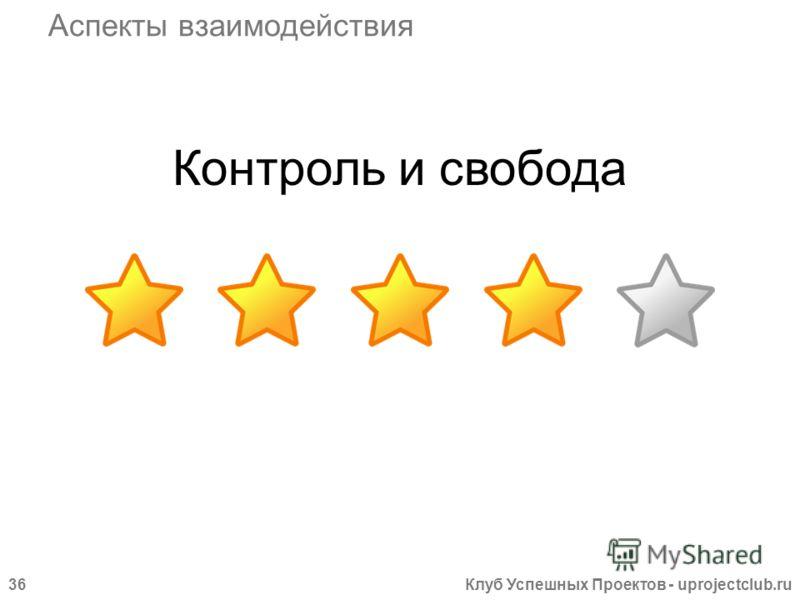 Клуб Успешных Проектов - uprojectclub.ru36 Контроль и свобода Аспекты взаимодействия