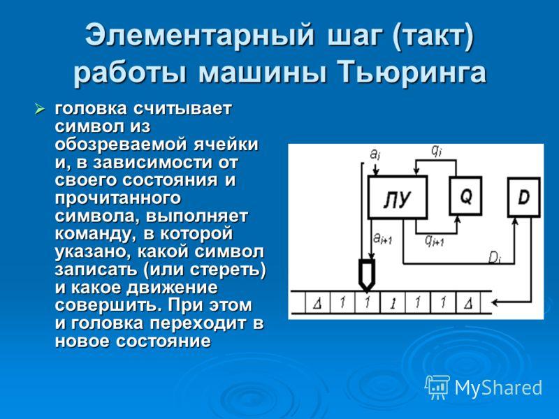 Элементарный шаг (такт) работы машины Тьюринга головка считывает символ из обозреваемой ячейки и, в зависимости от своего состояния и прочитанного символа, выполняет команду, в которой указано, какой символ записать (или стереть) и какое движение сов