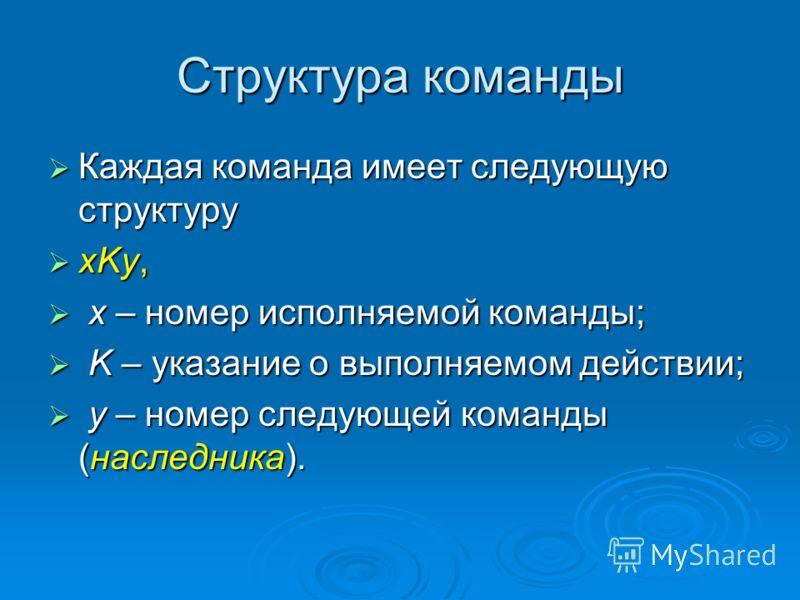 Структура команды Каждая команда имеет следующую структуру Каждая команда имеет следующую структуру xKy, xKy, x – номер исполняемой команды; x – номер исполняемой команды; K – указание о выполняемом действии; K – указание о выполняемом действии; y –