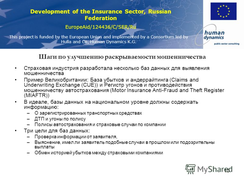 Development of the Insurance Sector, Russian Federation EuropeAid/124436/C/SER/Ru This project is funded by the European Union and implemented by a Consortium led by Hulla and Co, Human Dynamics K.G. 10 Шаги по улучшению раскрываемости мошенничества