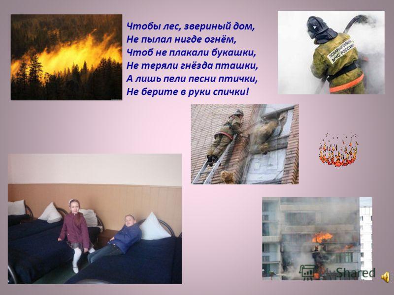 Чтобы лес, звериный дом, Не пылал нигде огнём, Чтоб не плакали букашки, Не теряли гнёзда пташки, А лишь пели песни птички, Не берите в руки спички!