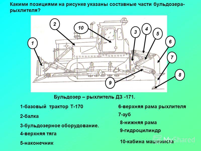 Бульдозер – рыхлитель ДЗ -171. 1 2 3 4 5 6 7 8 9 3-бульдозерное оборудование. 1-базовый трактор Т-1706-верхняя рама рыхлителя 4-верхняя тяга 9-гидроцилиндр 2-балка 7-зуб 5-наконечник 8-нижняя рама Какими позициями на рисунке указаны составные части б
