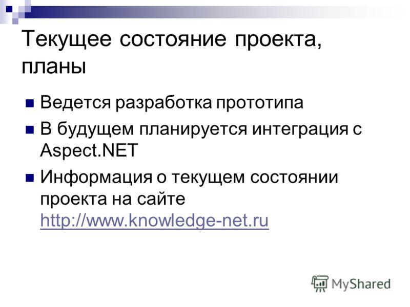 Текущее состояние проекта, планы Ведется разработка прототипа В будущем планируется интеграция с Aspect.NET Информация о текущем состоянии проекта на сайте http://www.knowledge-net.ru http://www.knowledge-net.ru