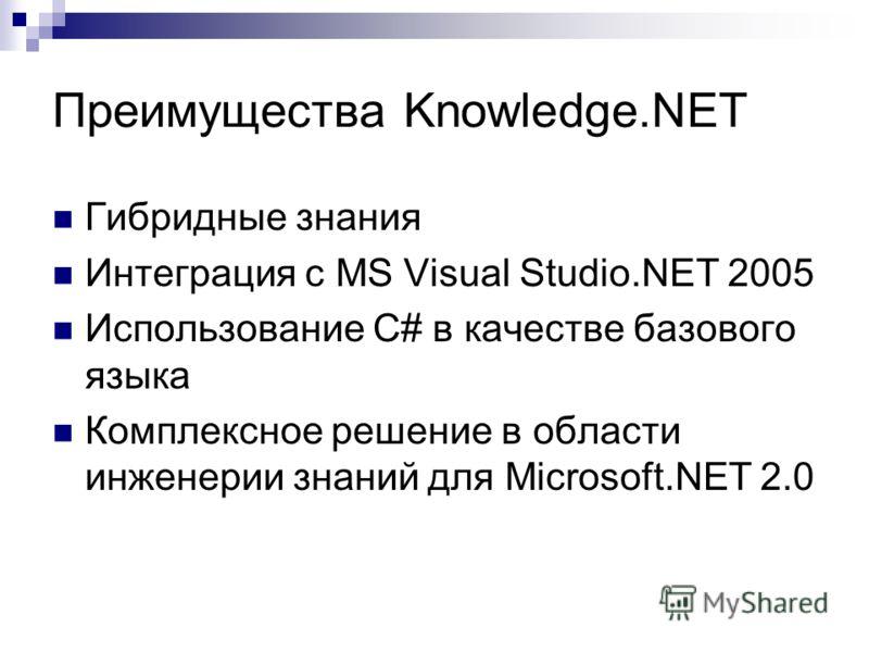 Преимущества Knowledge.NET Гибридные знания Интеграция с MS Visual Studio.NET 2005 Использование C# в качестве базового языка Комплексное решение в области инженерии знаний для Microsoft.NET 2.0