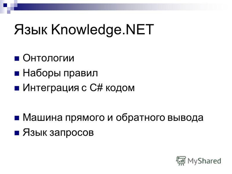 Язык Knowledge.NET Онтологии Наборы правил Интеграция с C# кодом Машина прямого и обратного вывода Язык запросов