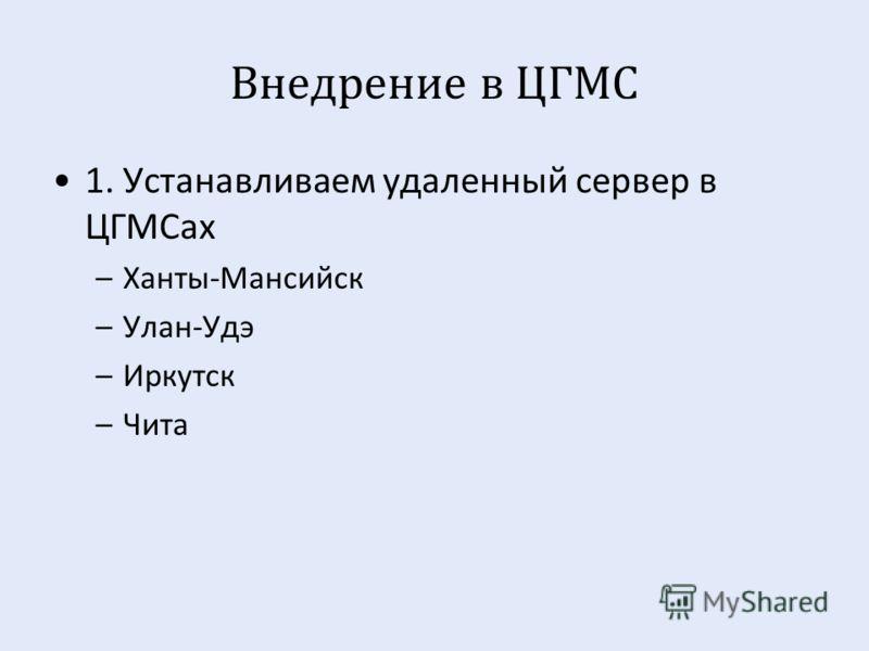 Внедрение в ЦГМС 1. Устанавливаем удаленный сервер в ЦГМСах –Ханты - Мансийск –Улан - Удэ –Иркутск –Чита