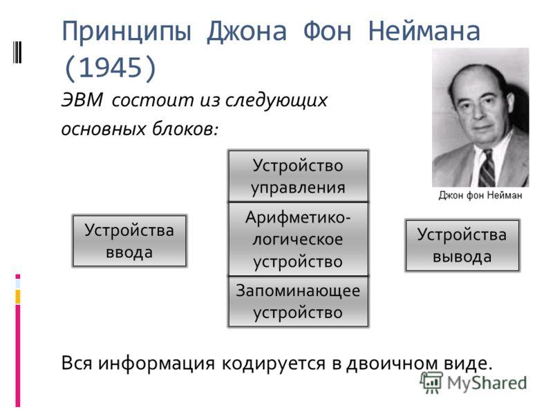 Принципы Джона Фон Неймана (1945) ЭВМ состоит из следующих основных блоков: Устройства ввода Устройства вывода Запоминающее устройство Устройство управления Арифметико- логическое устройство Вся информация кодируется в двоичном виде.