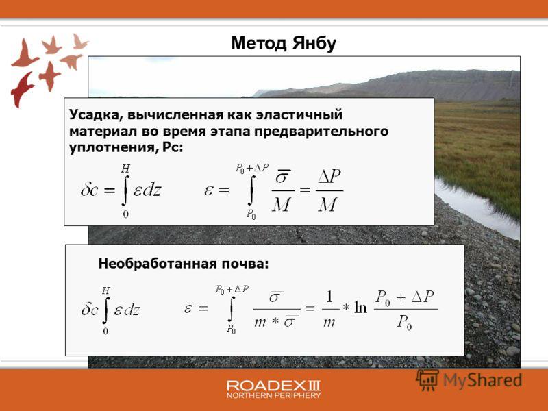 Усадка, вычисленная как эластичный материал во время этапа предварительного уплотнения, Pc: Необработанная почва: Метод Янбу