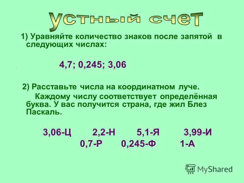 1) Уравняйте количество знаков после запятой в следующих числах: 4,7; 0,245; 3,06 2) Расставьте числа на координатном луче. Каждому числу соответствует определённая буква. У вас получится страна, где жил Блез Паскаль. 3,06-Ц 2,2-Н 5,1-Я 3,99-И 0,7-Р