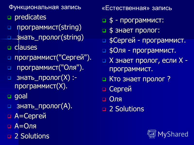 predicates predicates программист(string) программист(string) знать_пролог(string) знать_пролог(string) clauses clauses программист(