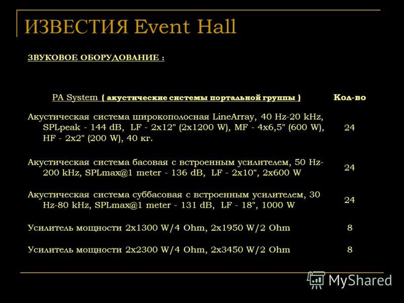 ИЗВЕСТИЯ Event Hall ЗВУКОВОЕ ОБОРУДОВАНИЕ : PA System ( акустические системы портальной группы ) Кол-во Акустическая система широкополосная LineArray, 40 Hz-20 kHz, SPLpeak - 144 dB, LF - 2x12