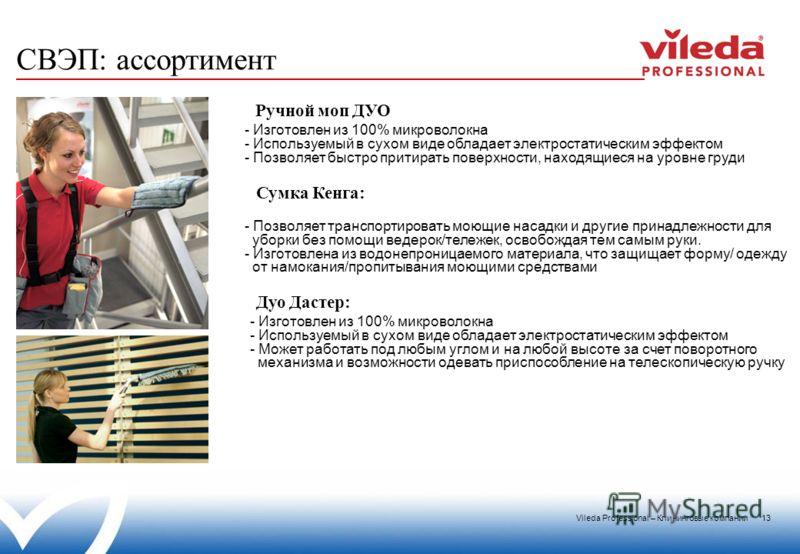 Vileda Professional – Клининговые компании 13 - Изготовлен из 100% микроволокна - Используемый в сухом виде обладает электростатическим эффектом - Позволяет быстро притирать поверхности, находящиеся на уровне груди Ручной моп ДУО - Изготовлен из 100%