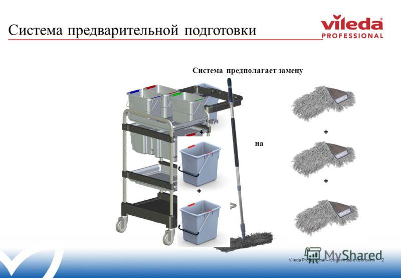 Vileda Professional – Клининговые компании 2 Система предварительной подготовки + + + + на Система предполагает замену