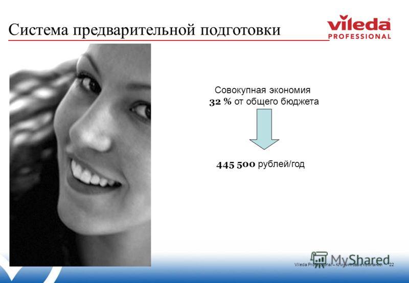 Vileda Professional – Клининговые компании 22 Совокупная экономия 32 % от общего бюджета 445 500 рублей/год Система предварительной подготовки