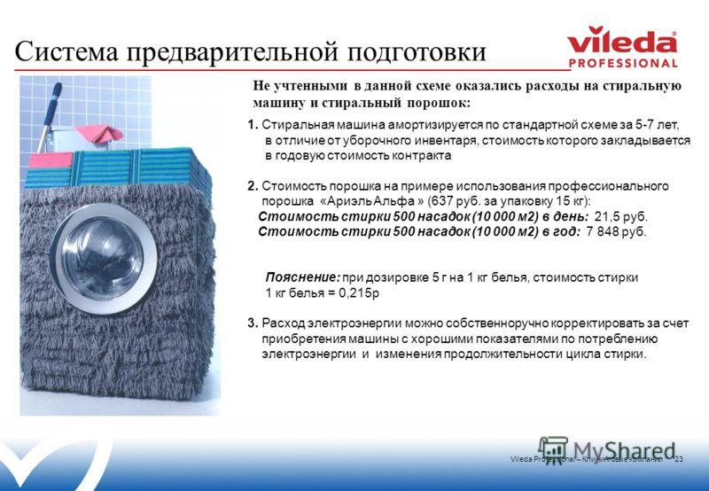 Vileda Professional – Клининговые компании 23 1. Стиральная машина амортизируется по стандартной схеме за 5-7 лет, в отличие от уборочного инвентаря, стоимость которого закладывается в годовую стоимость контракта 2. Стоимость порошка на примере испол