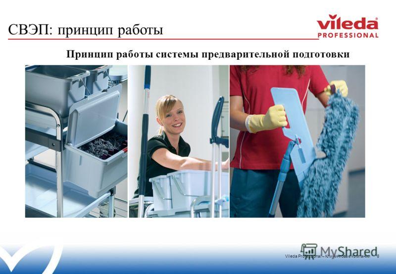 Vileda Professional – Клининговые компании 8 СВЭП: принцип работы Принцип работы системы предварительной подготовки