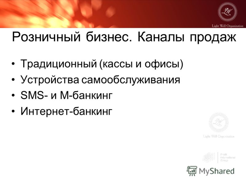 Розничный бизнес. Каналы продаж Традиционный (кассы и офисы) Устройства самообслуживания SMS- и M-банкинг Интернет-банкинг