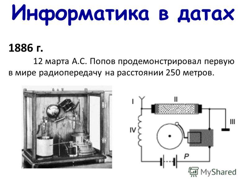Информатика в датах 1886 г. 12 марта А.С. Попов продемонстрировал первую в мире радиопередачу на расстоянии 250 метров.