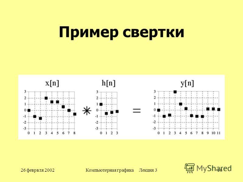 26 феврвля 2002Компьютерная графика Лекция 316 Пример свертки