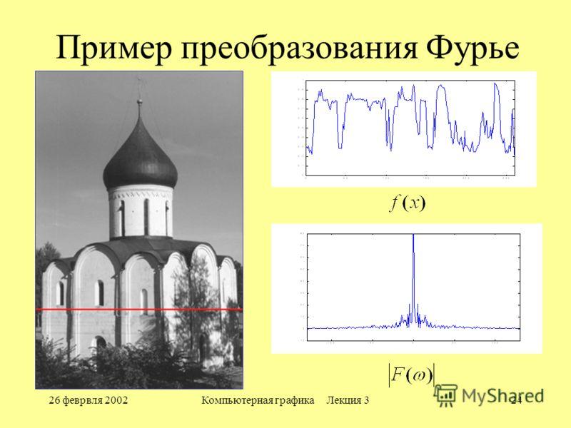 26 феврвля 2002Компьютерная графика Лекция 324 Пример преобразования Фурье