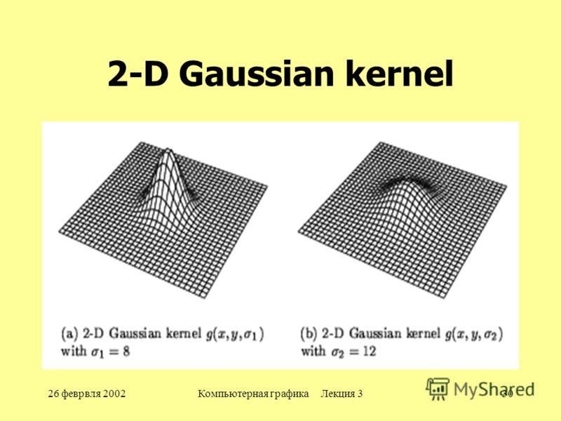 26 феврвля 2002Компьютерная графика Лекция 330 2-D Gaussian kernel