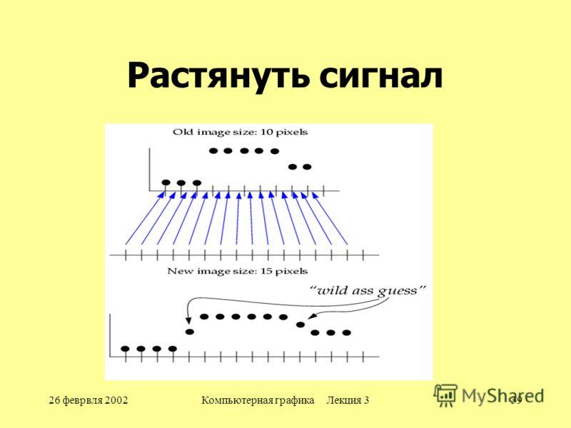 26 феврвля 2002Компьютерная графика Лекция 339 Растянуть сигнал