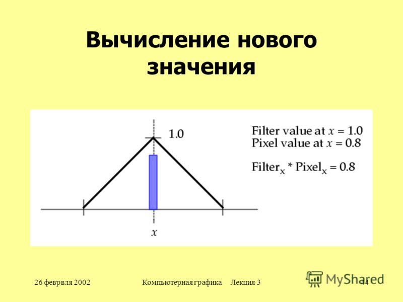 26 феврвля 2002Компьютерная графика Лекция 344 Вычисление нового значения