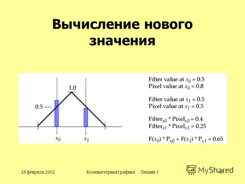 26 феврвля 2002Компьютерная графика Лекция 345 Вычисление нового значения