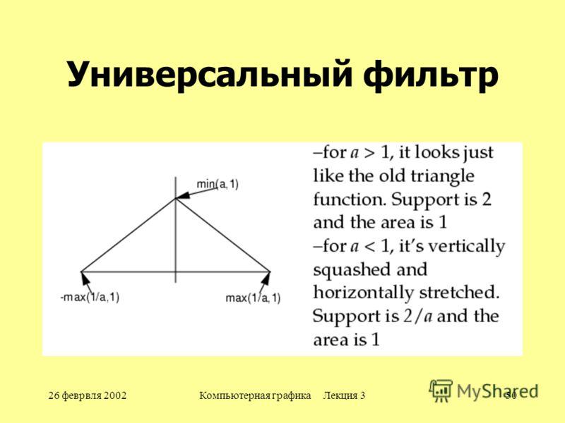 26 феврвля 2002Компьютерная графика Лекция 350 Универсальный фильтр