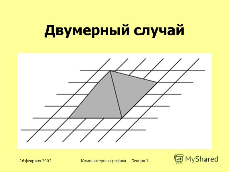 26 феврвля 2002Компьютерная графика Лекция 352 Двумерный случай