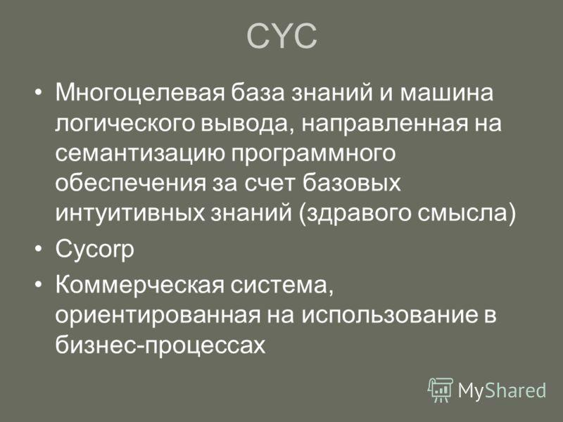 Многоцелевая база знаний и машина логического вывода, направленная на семантизацию программного обеспечения за счет базовых интуитивных знаний (здравого смысла) Cycorp Коммерческая система, ориентированная на использование в бизнес-процессах СYC
