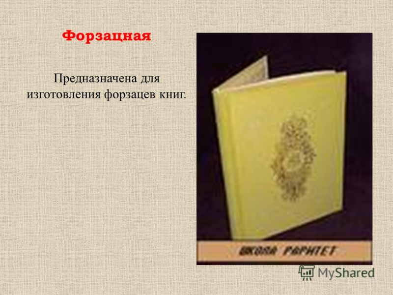 Форзацная Предназначена для изготовления форзацев книг.
