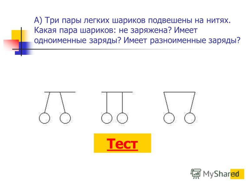 А) Три пары легких шариков подвешены на нитях. Какая пара шариков: не заряжена? Имеет одноименные заряды? Имеет разноименные заряды? Тест 10