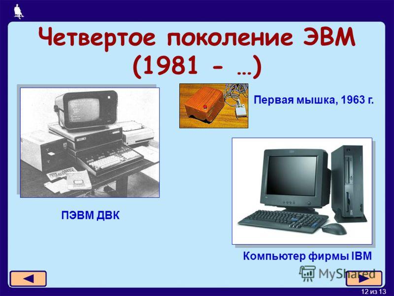 12 из 13 Четвертое поколение ЭВМ (1981 - …) ПЭВМ ДВК Первая мышка, 1963 г. Компьютер фирмы IBM