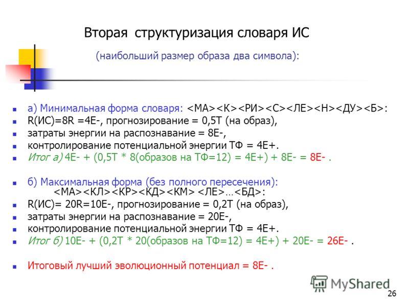 Результаты эксперимента Первая структуризация словаря ИС Форма словаря: (наибольший размер образа один символ):, R(ИС)=12R*(0,5Е-/R) = 6E-, прогнозирование (Т) = 0Т (т.к. у образа только один символ), затраты энергии на распознавание = 12E- контролир