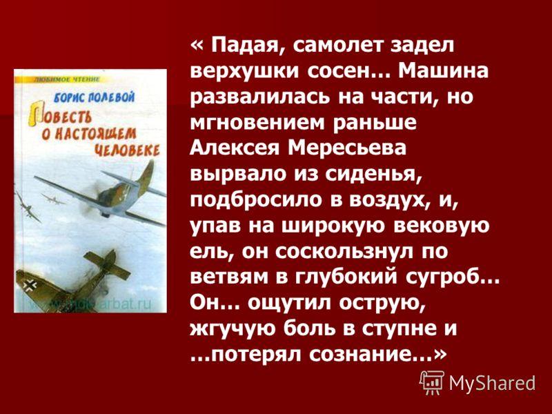 « Падая, самолет задел верхушки сосен… Машина развалилась на части, но мгновением раньше Алексея Мересьева вырвало из сиденья, подбросило в воздух, и, упав на широкую вековую ель, он соскользнул по ветвям в глубокий сугроб… Он… ощутил острую, жгучую