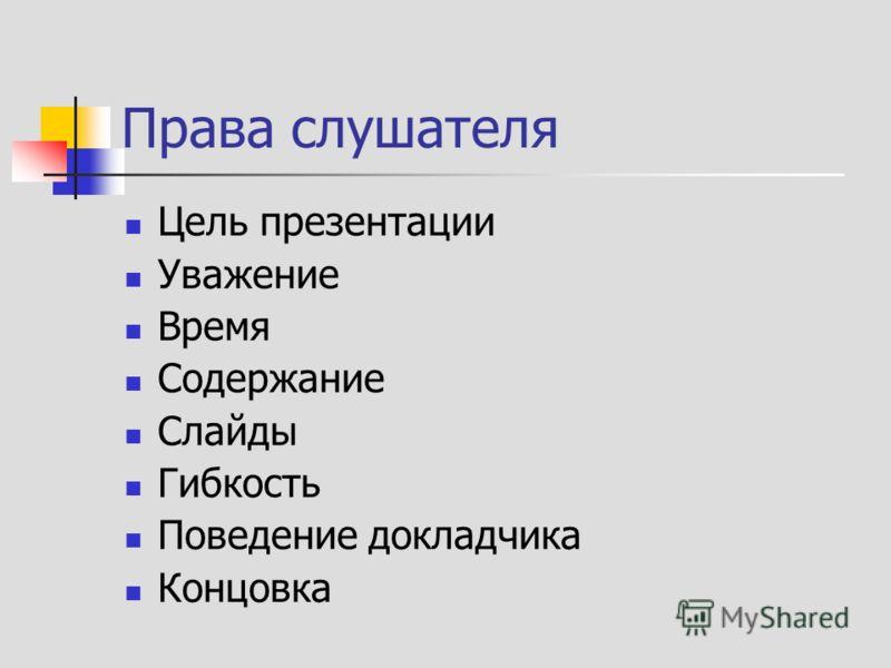 Права слушателя Цель презентации Уважение Время Содержание Слайды Гибкость Поведение докладчика Концовка