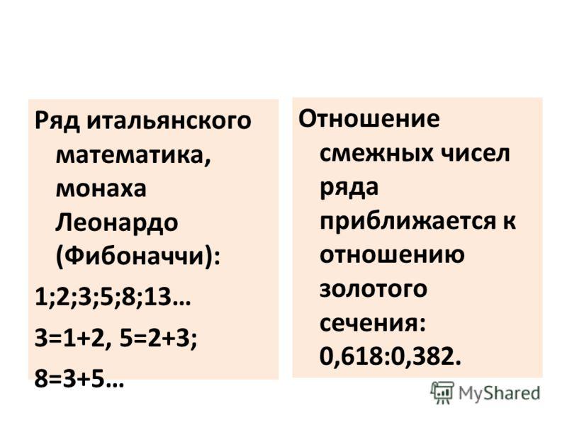 Ряд итальянского математика, монаха Леонардо (Фибоначчи): 1;2;3;5;8;13… 3=1+2, 5=2+3; 8=3+5… Отношение смежных чисел ряда приближается к отношению золотого сечения: 0,618:0,382.