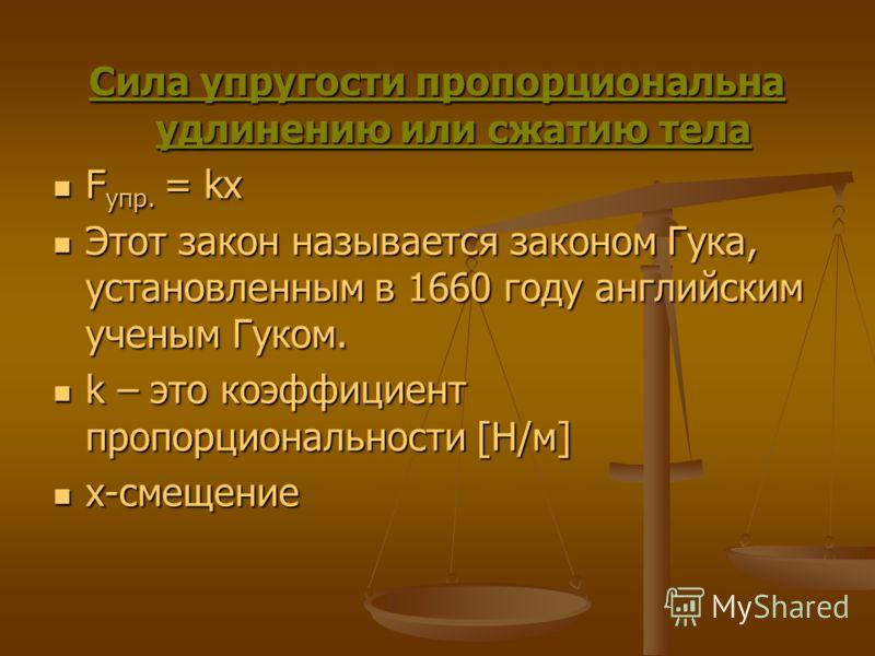 Сила упругости пропорциональна удлинению или сжатию тела F упр. = kx F упр. = kx Этот закон называется законом Гука, установленным в 1660 году английским ученым Гуком. Этот закон называется законом Гука, установленным в 1660 году английским ученым Гу