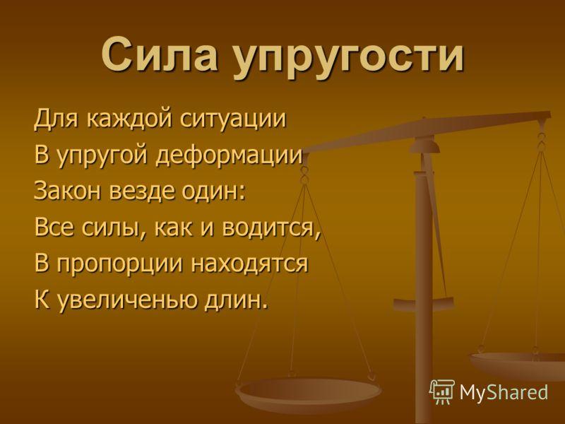 Сила упругости Для каждой ситуации В упругой деформации Закон везде один: Все силы, как и водится, В пропорции находятся К увеличенью длин.