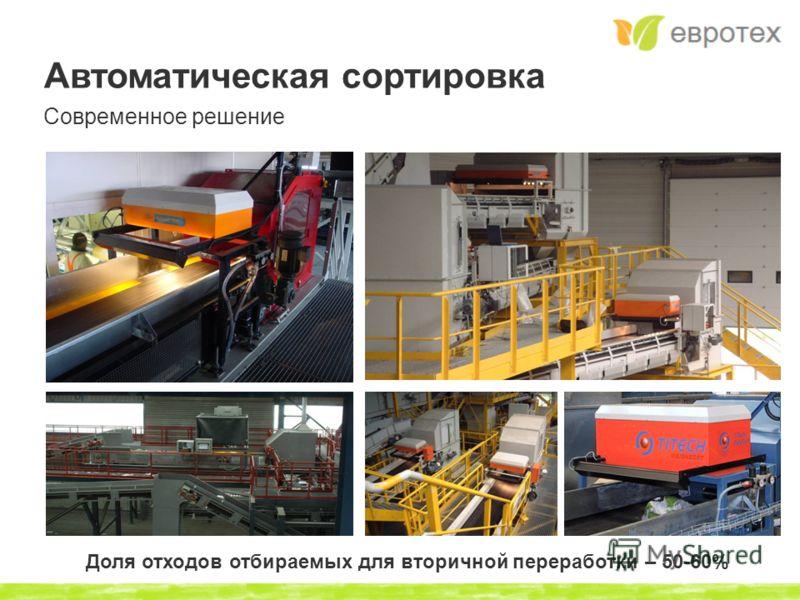 Автоматическая сортировка Современное решение Доля отходов отбираемых для вторичной переработки – 50-60%