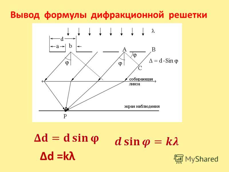 Вывод формулы дифракционной решетки Δd =kλ