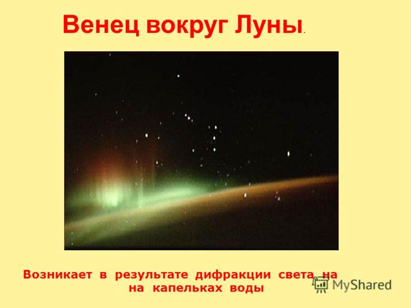 Возникает в результате дифракции света на на капельках воды Венец вокруг Луны.