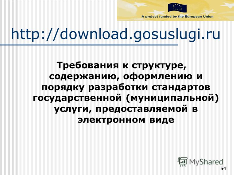 http://download.gosuslugi.ru Требования к структуре, содержанию, оформлению и порядку разработки стандартов государственной (муниципальной) услуги, предоставляемой в электронном виде 54