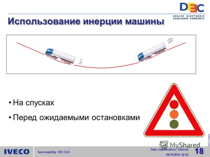 1818 Data classification: Internal 29/07/2012 15.52 DEEC Project Serviceability / BU CGS Использование инерции машины На спусках Перед ожидаемыми остановками
