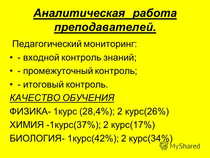 Аналитическая работа преподавателей. Педагогический мониторинг: - входной контроль знаний; - промежуточный контроль; - итоговый контроль. КАЧЕСТВО ОБУЧЕНИЯ ФИЗИКА- 1курс (28,4%); 2 курс(26%) ХИМИЯ -1курс(37%); 2 курс(17%) БИОЛОГИЯ- 1курс(42%); 2 курс