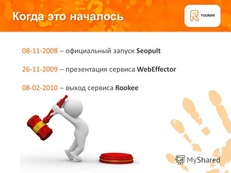 Когда это началось Плашка для подзаголовков 08-11-2008 официальный запуск Seopult 26-11-2009 презентация сервиса WebEffector 08-02-2010 выход сервиса Rookee