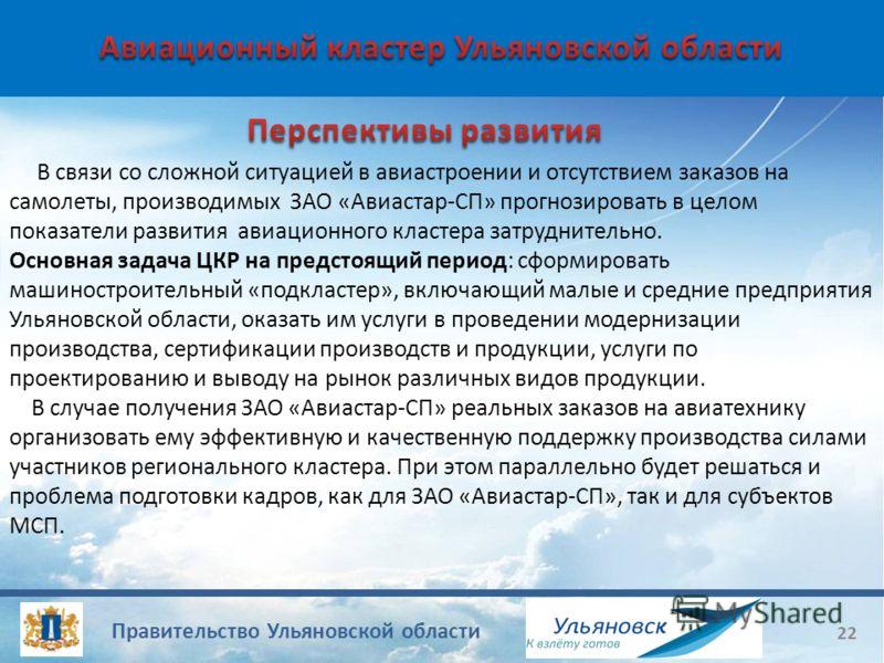 Правительство Ульяновской области 22 В связи со сложной ситуацией в авиастроении и отсутствием заказов на самолеты, производимых ЗАО «Авиастар-СП» прогнозировать в целом показатели развития авиационного кластера затруднительно. Основная задача ЦКР на